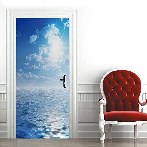 3D Mural para Puerta 77X200Cm Autoadhesivo Impermeable Papel Pintado Puerta para Sala de Estar Baño Extraíble Vinilo Adhesivo de Pared,DIY Decoración del Hogar - Mar y Cielo Azul