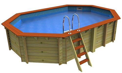 Plastica gespannt, achteckig, aus Holz, Pool 5,5 x 3,6 m, Belgravia