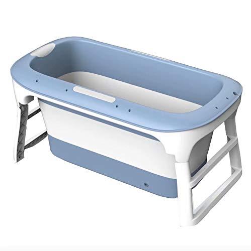 Bañera plegable portátil para adultos, bañera portátil para adultos para ducha Bañera de plástico portátil grande Bañera plegable para niños pequeños Azul / Rosa 114 * 60 * 55cm (Color: Azul sin tapa