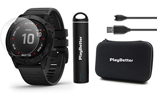 Garmin Fenix 6 Pro (Black with Black Band) Power Bundle with HD Screen Protectors, PlayBetter Portable Charger & Protective Hard Case   PulseOx, ClimbPro, Maps, PacePro, Spotify, Music