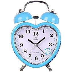Alarm Clock Silent Desk Travel Alarm Clock Cute No Ticking Twin Bell with Nightlight Heart-Shaped Table Clock (Color : Blue)