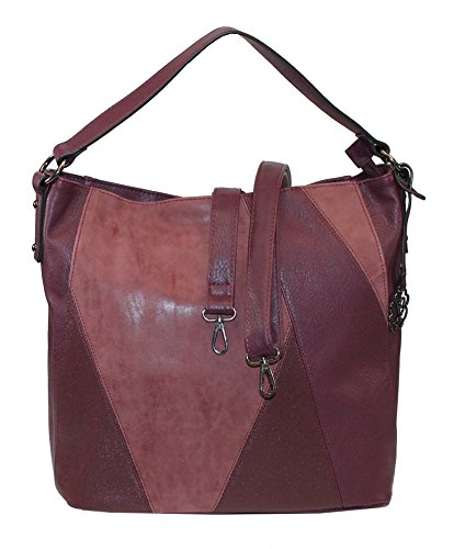 Glüxklee Damen Handtasche Damentasche Shopper dekorative Front Patchwork-Optik (weinrot)