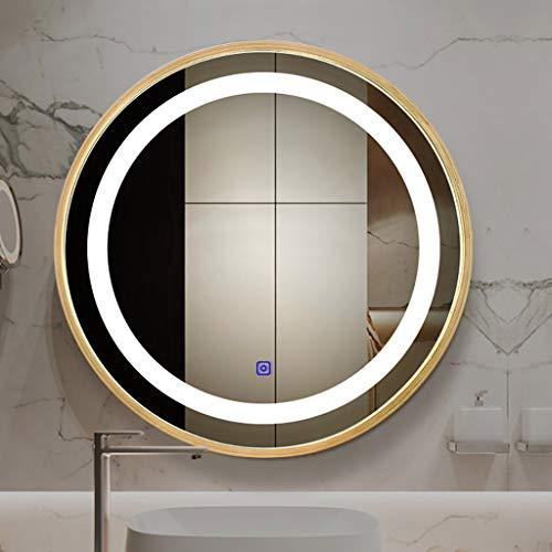 Miroir Lumineux Éclairé par LED, Miroir Mural Rond avec Interrupteur Tactile, Chambre À Coucher/Salle De Bain/Salon De Beauté/Miroir De Salle De Bain, Fini Doré