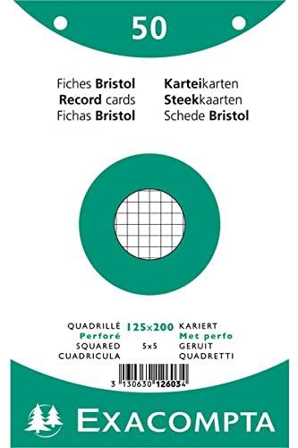 EXACOMPTA 12603E Paquet 50 fiches sous film - bristol quadrillé 5x5 perforé 125x200mm Blanc