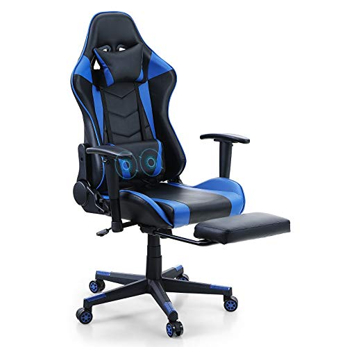 PHI VILLA Video Gaming Chair - with Footrest and Massage,Ergonomic Racing Computer Game Desk Chair with Adjustable Height and Backrest for Adults and Teens,Maximum Load Bearing up to 300 lbs,Blue