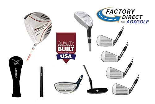 AGXGOLF Men's Left Hand Tall Length (+1.5 inch) XLT Edition Executive Golf Club Set wDriver Fairway & Utility Clubs + Irons, Wedge & Putter; Built in USA!