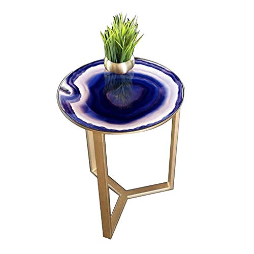 N/Z Wohngeräte Spiegel Glas Farbe geblasen Beistelltisch Eisenrahmen Kleiner runder Tisch/Für Wohnzimmer Schlafzimmer Sofa Ecke Werkbank