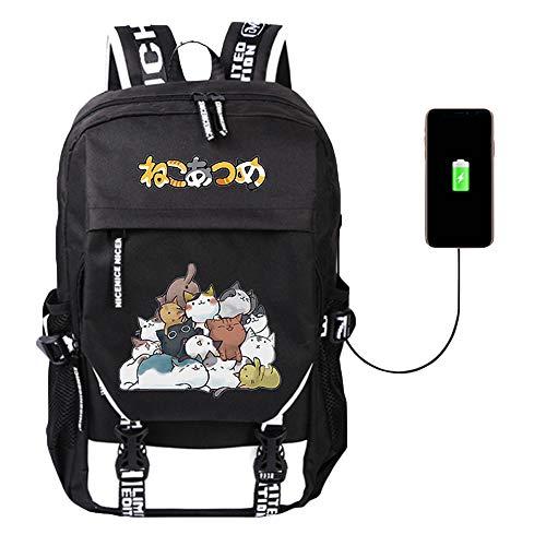 Neko Atsume Cartoon Print Student Backpack Canvas Backpack Fashion Travel Bag with USB Charging Port
