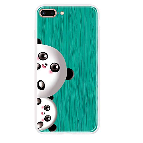 Miagon Holz Korn Hülle für iPhone 7 Plus/8 Plus,Ultra Dünn Weiche Silikon Handyhülle Cover Stoßfest Schutzhülle mit Schöne Süß Panda Muster,Grün