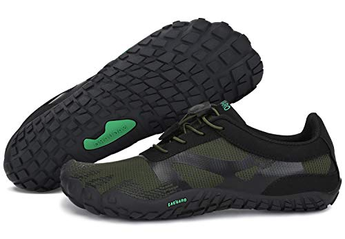Escarpines para Mujer Hombre Zapatillas de Deporte Antideslizante Five Fingers Minimalistas Zapatillas Barefoot Trail Running Verde 46