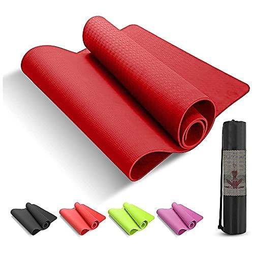 Tappetino Yoga e Fitness Professionale Antiscivolo Alto Spessore in TPE ROSSO