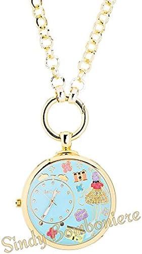 Uhr Halskette Zwiebel Cucu 'Le CaRosa + Verpackung + Garantie Idee Geschenk himmelblau