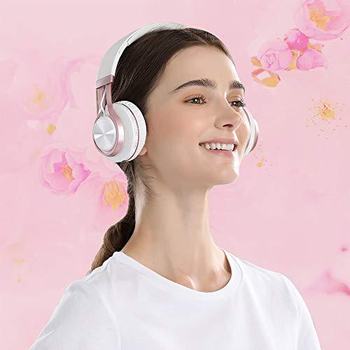 Baseman Wireless Bluetooth Headphones with Mic, On Ear Lightweight Foldable Wired Headphones, Hi-Fi Stereo Earphones Deep Bass Over Ear Headphone for Music Computer Laptop TV PC Kids(Pink White) 2