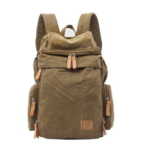 E-Clover Canvas Hiking Backpack for Men Travel Backpack for College (Khaki)