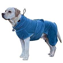 PETTOM Albornoz para Perros Pequeños Medios Grandes, Toallas Baño Pijamas para Cachorros Mascotas Grandes, Abrigo de Secado rápido Super Absorbente Microfibra Cinta Ajustable Suave y Cómodo M