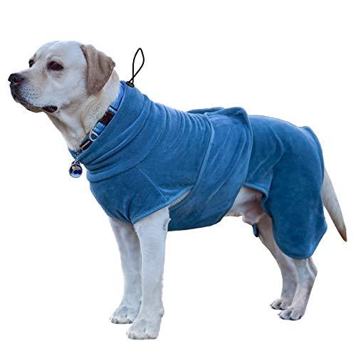 PETTOM Hunde-Bademantel Mikrofaser Hundehandtuch Schnell Trocknend mikrofaser Handtuch Super Saugfähig Komfortabel und mit Verstellbaren Trägern für Haustiere Hunde und Katzen(L)