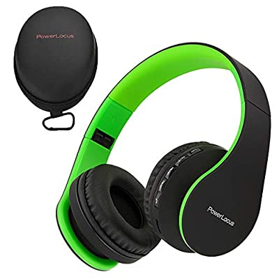 PowerLocus Wireless Bluetooth Over-Ear Stereo Foldable Headphones, Wired Headsets Noise Cancelling with Built-in Microphone for iPhone, Samsung, LG, iPad (Black/Green) by Powerlocus