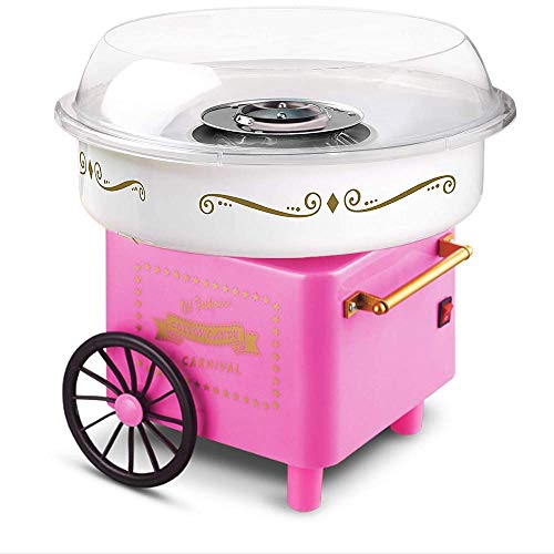 HUBUISH Fashion Mini Cotton Candy Machine Stainless Steel Bottom Groove, Ceramic Heating Tube ,Home Cotton Candy Machine 500W Max-(Pink)