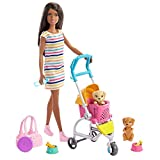 Barbie Stroll 'n Play Pups Playset with Brunette Barbie Doll (11.5-inch), 2 Puppies