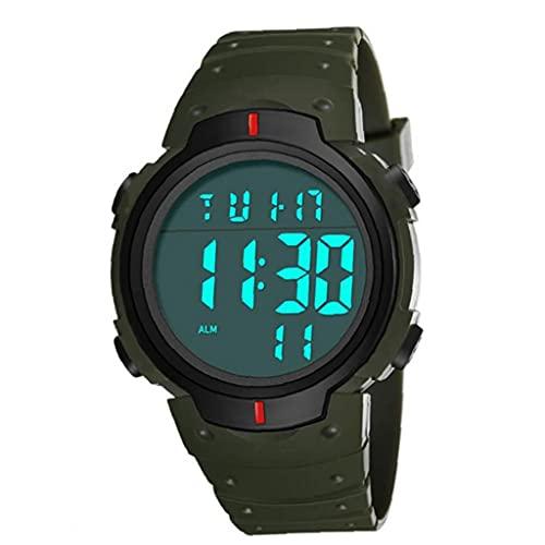 Étudiants Montre numérique électronique écran LED Montre-bracelet étanche en cuir Armband Grand visage militaire Casual lumineux vert Chronomètre pratique quotidienne Necessities