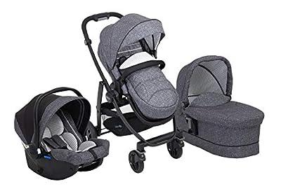 Graco Evo Trio - Cochecito 3 en 1 con cochecito combinado, capazo para coche, juego completo para bebé, incluye saco y capota para la lluvia, plegable, color gris y negro