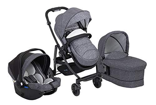 Graco Evo Trio - Cochecito 3 en 1 con cochecito combi y capazo para el coche, juego completo para bebé, incluye saco de dormir y capota para la lluvia, plegable, color gris/negro, Suits Me