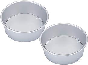 Hemoton 2pcs Round Cake Pan Alloy Chiffon Cake Baking Mold Non-Stick Cheesecake Bakeware for Home Restaurant Kitchen (8 In...