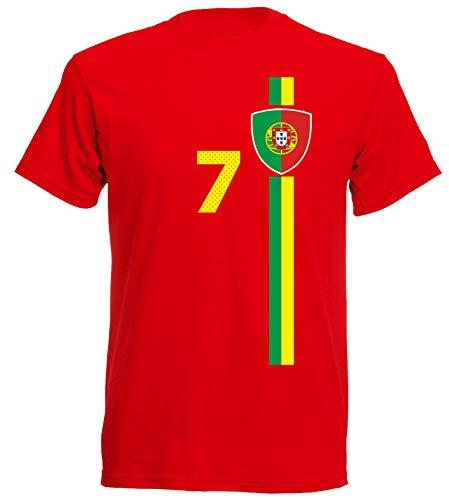 aprom Portugal Kinder T-Shirt Trikot Kids No.7 WM EM Fussball Sport St-1 Fan Supporter (152)