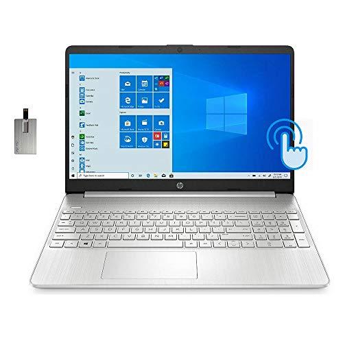 "2020 HP 15.6"" HD Touchscreen Laptop Computer, 8th Gen Intel Quad-Core i7-8550U, 12GB RAM, 512GB PCIe SSD, Intel HD Graphics 620, HD Audio, HD Camera, Bluetooth, Win 10S, Silver, 32GB SnowBell USB Card"