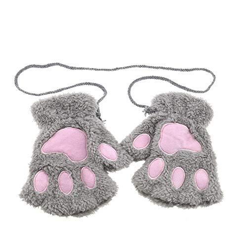 OTOTEC Fingerlose Handschuhe für Damen und Mädchen, mit Katzenpfoten, aus weichem Plüsch, Grau