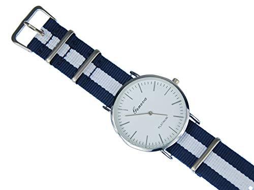 Miniblings Herren Damen Armbanduhr DAU HAU Uhr Zeit Textil weiß dunkelblau silb