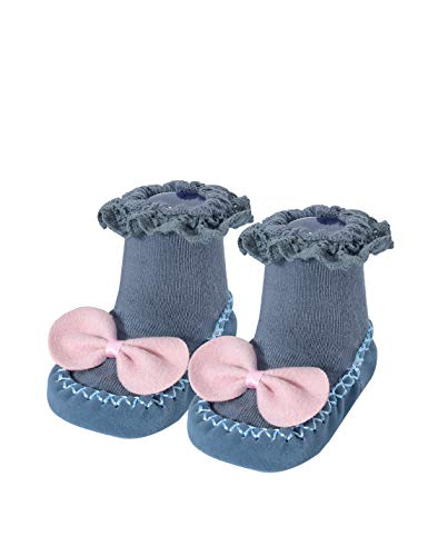 Baby Girl Sock Shoes Non-Skid Fall Spring Bowknot Socks for Newborn 0-12 Months Dark Grey