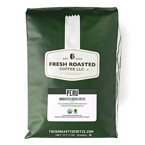 Fresh Roasted Coffee, Unroasted Organic Peru, Fair Trade Kosher, 5 Pound