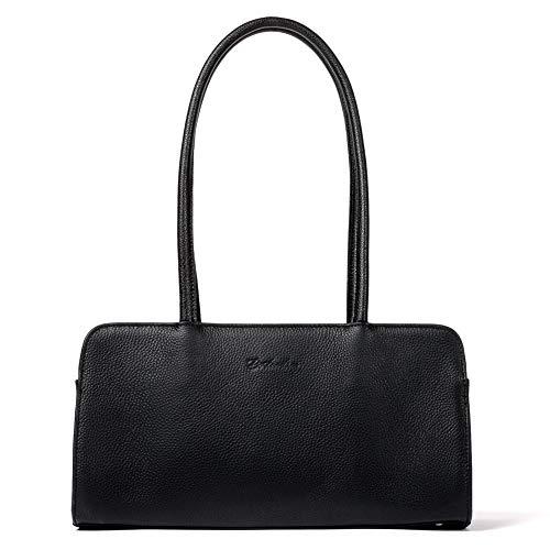 BOSTANTEN Leder Schultertasche Henkeltasche für Damen Designer Handtasche Schwarz Elegante Unterarmtasche ledertaschen mit langem Griff