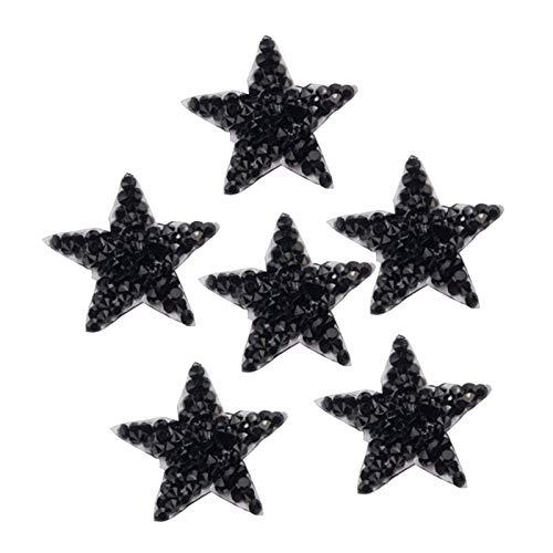 #N/A/a 6 Pezzi Star Patch Patch di Strass, Patch Cappio Strass Termoadesivi per Tessuti Toppe per Maglioni Abbigliamento Giacca Cappelli Capi - Nero