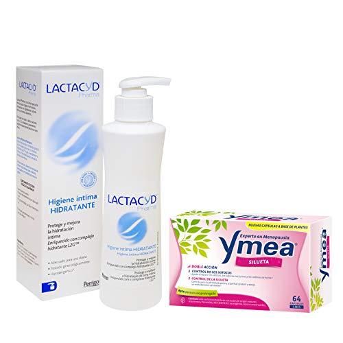 Ymea Silueta - Tratamiento de la Menopausia, 64 cápsulas, Tratamiento 1 mes + Lactacyd Pharma Hidratante - Protege y mejora la hidratación intima diaria, enriquecido con complejo hidratante L2G
