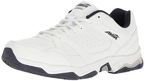 Avia Men's AVI-Rival Walking Shoe, White/True-Navy/Chrome Silver, 9 4E US
