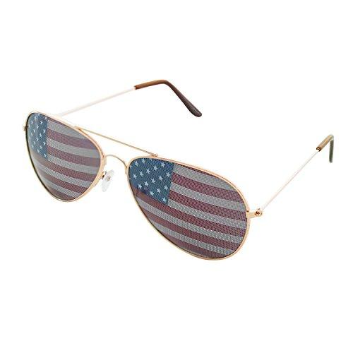 American USA Flag Design Metal Frame Aviator Sunglasses (Gold)