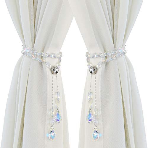 Pedobo Magnetic Curtain Tiebacks,Crystal Beads Rope Drapery Holdbacks Holder for Small,Thin or Sheer Window Draperies,12 Inch Long,2 Pack (White)