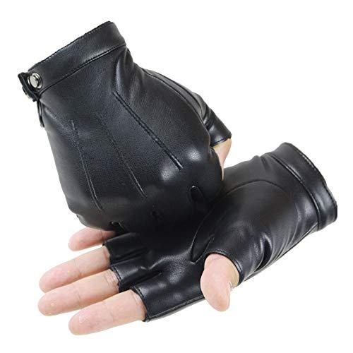 SLDSM Unisex Reithandschuhe, universelle Halbfinger Leder-Handschuhe for den Rennsport im Freien Arbeitshandschuhe Laufen Jagd (Color : Black, Gloves Size : XL)