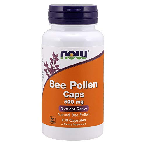 Now Supplements, Bee Pollen 500 mg, Natural Bee Pollen, Nutrient-Dense, 100 Capsules