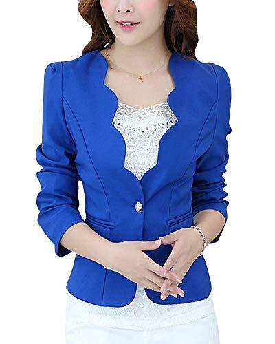 Blazer Corto con Cuello Chaqueta Mujer Ondulado para Modernas Casual Casual De Manga Larga Delgada con Un Botón Abrigo Moda 2020 Ropa De Mujer (Color : Blau, One Size : S)