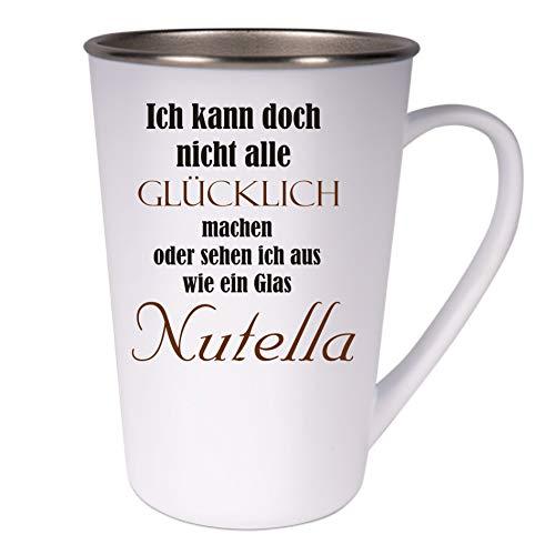 Crealuxe Konische roestvrijstalen koffiemok Ich kann doch nicht alle gelukkige maken - Nutella - koffiepot of beker met motief, bedrukte latte of cappuccinokop, ook indualiseerbaar.