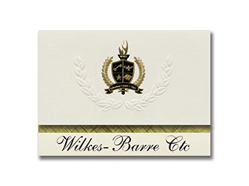 Signature Announcements Wilkes-Barre Ctc (Wilkes-barre, PA) Abschlussankündigungen, Präsidential-Stil, Grundpaket mit 25 goldfarbenen und schwarzen Metallfolienversiegelungen