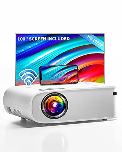 """ARTSEA 5G WiFi Projector for iPhone, Native 1080P Projector 8500L Full HD Projector Outdoor Video Projector 300"""", Synchronize Smartphone & 4K Movie Projector Compatible with Laptop/TV Stick/HDMI/PS4"""