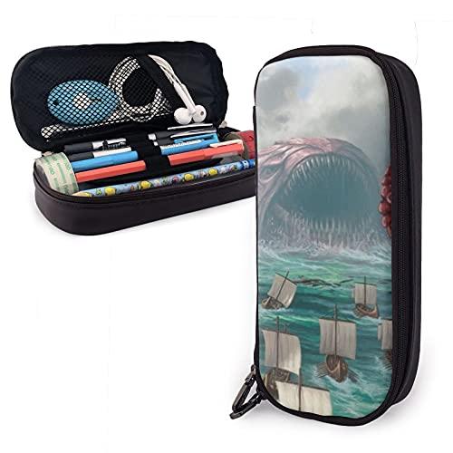 Stifteetui aus Leder, große Kapazität mit Reißverschluss, hohe Kapazität, Stifttasche, Schreibtisch-Organizer, praktischer Taschenhalter, Octopus