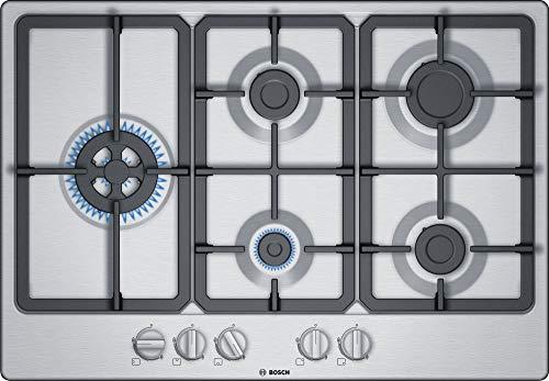 Bosch PGS7B5B90 - Piano Cottura N° 5 Fuochi, Tipologia a Gas, da 75 cm, colore Inox