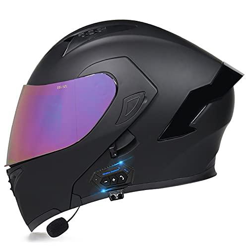 Casco Moto Modular Bluetooth Integrado ECE Aprobado Doble Visera Anti Niebla Cascos Integral Flip Up Scooter con Micrófono Incorporado Protection para Hombre Mujer 55~60cm