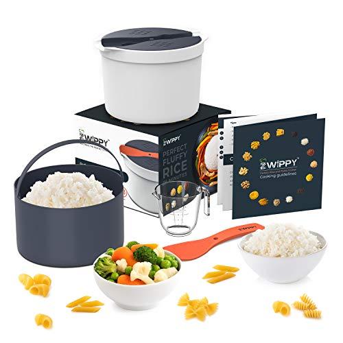 Zwippy Mikrowellen-Reis- und Nudelkocher – einfaches Kochen oder Aufwärmen Set mit Reislöffel Messbecher All-in-One mikrowellengeeigneter Behälter für Gemüse, Haferflocken, Suppen spülmaschinenfest