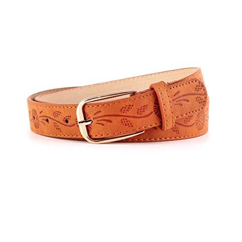 Irypulse Cinturón delgado de la Mujer Cuero En Relieve Ornamental de Moda Retro Femenina de Fino Aguja Hebilla de Aleación de Metal Delgada Cinturóns Adecuado Para Jeans Formal Casual Negocios